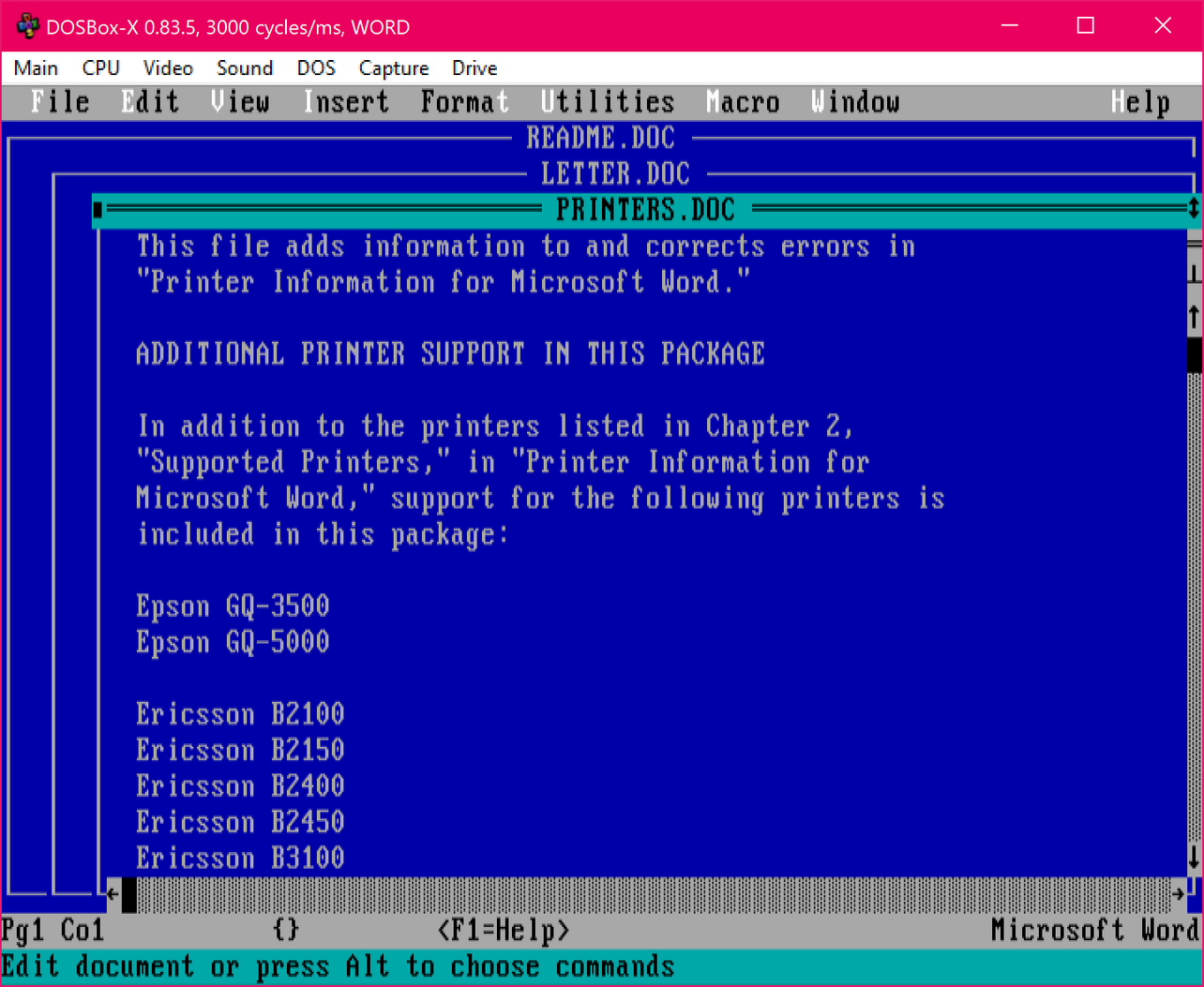 Word for DOS running in DOSBox-X